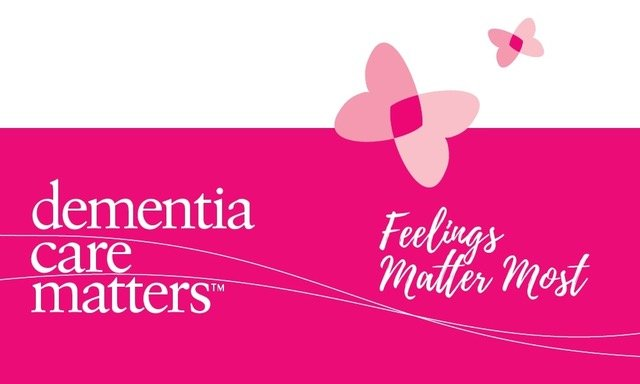Dementia Care Matters -Feelings Matters Most written on Pink Background with Butterflies